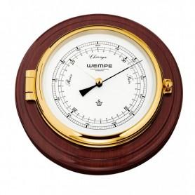 Wempe SKIPPER Barometer Op Mahoniehouten Plank Messing - 210 x 50 mm