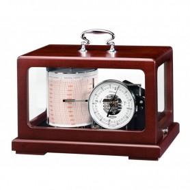 Wempe Trommel Barograaf Metaal Zwart  Mahonie Quartz Oliegedempt - 265 x 170 x 175 mm