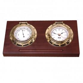 Weems & Plath Porthole Bureaumodel Klokkenset Quartz klok Barometer Arabisch Koper Hardhout