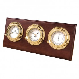 Weems En Plath Porthole Weerstation Quartz Klok Barometer Thermometer Hygrometer Arabisch Koper Hardhout